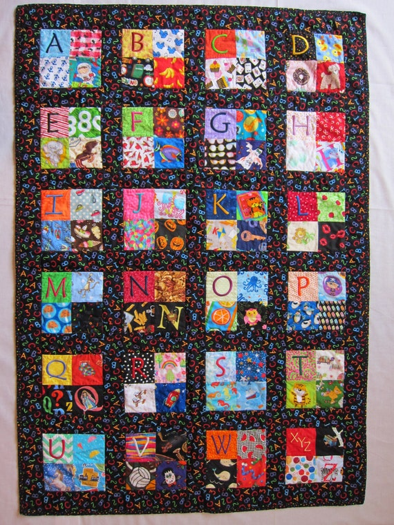 Quilt Patterns With Letters : Child s Embroidered Alphabet Quilt I Spy Quilt