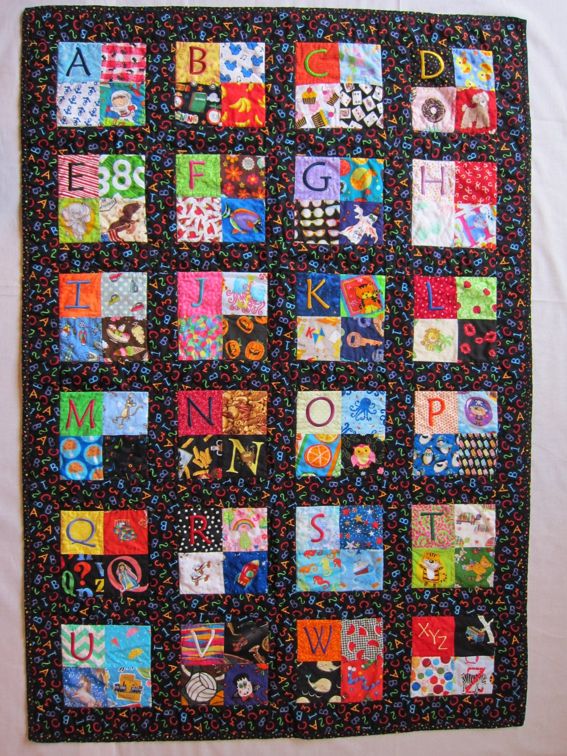 Child S Embroidered Alphabet Quilt I Spy Quilt