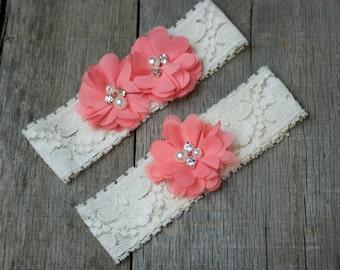 Coral Wedding Garter, Shabby Chic Garter