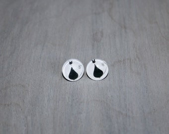 Black Cat Stud Earrings 12mm