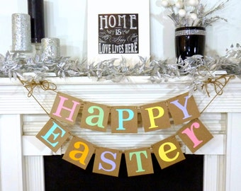 Happy Easter Decoration / Happy Easter Banner / Rustic /Easter Garland / Bunny Trail / Decoration Banner / Easter Photo Prop