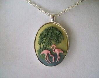 Flamingos and Palm Trees Cameo Pendant