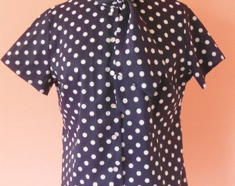 Polka Dotted Short Sleeved Blouse, M/L, 1960's