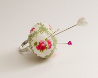 Adjustable Pin Cushion Ring - Rustic Floral - Adjustable Ring Base - Pincushion Ring - Silver Ring Base - Floral Fabric