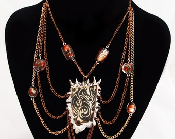 Chained Dragon Choker with Glass Beads