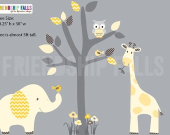 nursery Jungle Decal, elephant Wall Decal, giraffe decal, Nursery Wall Decal, Friendship Falls XXL Branch Tree Set - Banana Chevron Scene