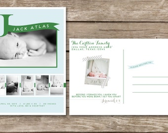 Birth announcement postcard