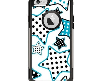 The Blue Polkadotted Vector Stars Apple iPhone 6 Otterbox Commuter Case Skin Set