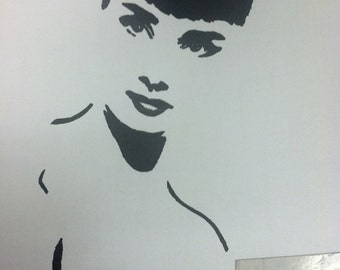 Audrey Hepburn Print From Original Charcoal Drawing Glamour No. 3