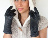 "The ""Ladies Touch"" Handmade black leather gloves for women made with sheep skin and really soft wool - lefushop"