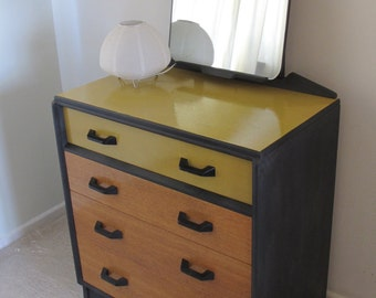 Upcycled G Plan Dressing Table Chest of Drawers Bureau Writing Desk with mirror.
