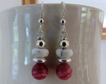 Rhodochrosite and Howlite  sterling silver earrings . Pink, white.