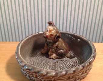 Vintage Wade Puppy Dog in Basket Figurine