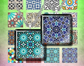 """MOROCCAN TILE- Digital Collage Sheet – 1"""" & 1.5"""" sizes – Printable Download for Pendants, Earrings, Charms"""