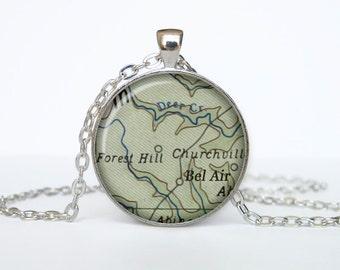 Bel Air map pendant, Bel Air map necklace, Bel Air map jewelry, Bel Air California