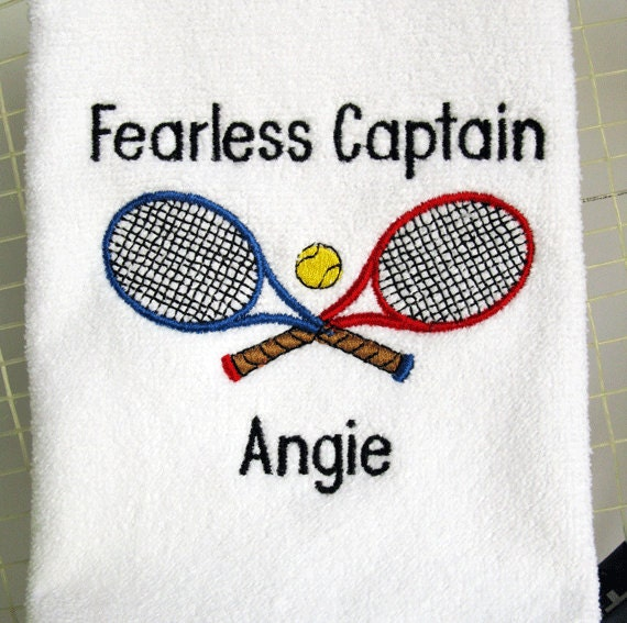 Tennis Captain Gift Personalized Tennis Towel Fearless
