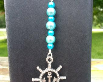 Peaceful Blue Nautical Boat Wheel Beaded Charm Dangle Bookmark