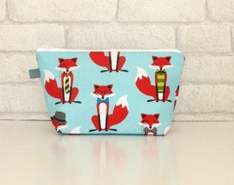 Makeup Bag // Wash Bag // Cosmetic Bag with Fox fabric