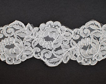 Embroidery Flower Ribbon Lace Trim, Bridal Lace, 3-3/4 Inch by 1 Yard, White, ROI-44567