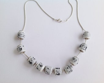 Music Notes paper bead necklace or bracelet