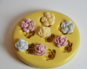 0146- 7 Tiny 1/2 inch Rose Flowers Silicone Rubber Flexible Food Safe Mold- wax, fondant, cake decorating, soap, plaster, candy, wedding