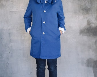 Woman 's Waterproof Rain Coat Trench Ocean Blue by Sunday Morning