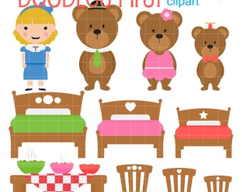 Goldilocks And The Three Bears Digi tal Clip Art for Scrapbooking Card ...