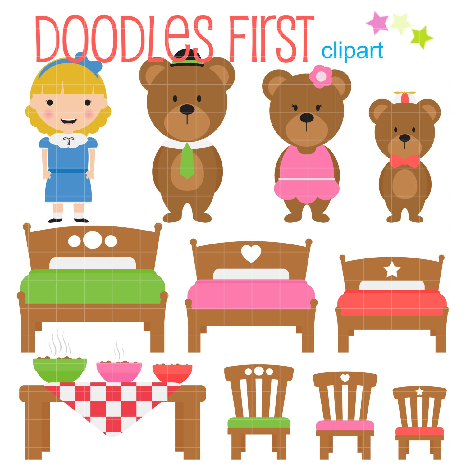 Uncategorized And The Three Bears goldilocks and the three bears digital clip art for
