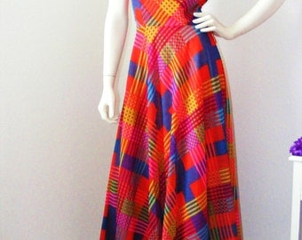 Gorgeous!! Vintage 1970s Long Colorful Dress by COCO of California