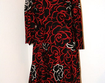 Vintage 1980s Black and Red Secretary Dress by T and F