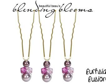 Fuchsia & Mauve Single Hair Pin wedding hair accessory, bridal hair accessory, bridesmaid hair accessory, wedding hair clip