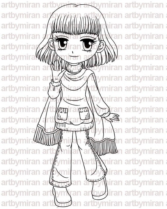 Digital Stamp - Loving Autumn Annie, Digi Stamp, Coloring page, Printable Line art for Card and Craft Supply