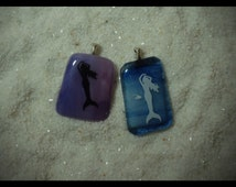 Mermaid and Fish Friend Kiln Fired Fused Glass Pendant