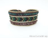 Green brown stone single wrap bracelet with gold plated chain trimming on soft polyester cord, beaded wrap bracelet