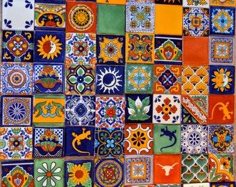 "100 Mexican Talavera Tiles handmade- Hand painted 2 ""X 2"""