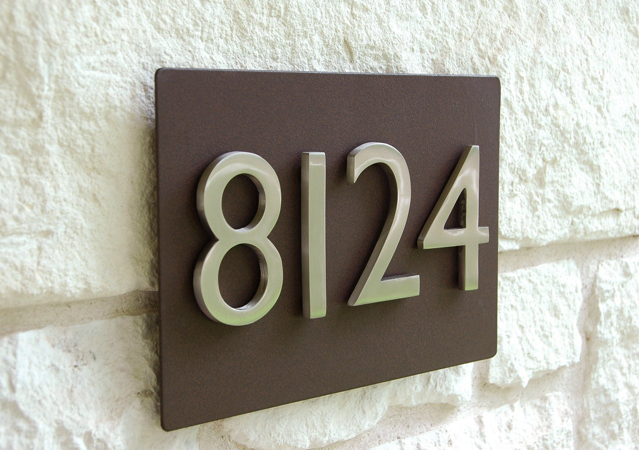one 4 brushed aluminum magnetic address number free With address magnets