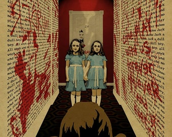 The Shining poster. Grady Twins. Jack Nicholson. 12x18. Kraft paper. Knoxville. Movie. Stephen King. Art. Print. Printing. Horror.