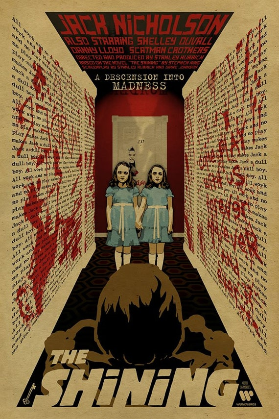 The Shining poster. Grady Twins. Jack Nicholson. 12x18. Kraft