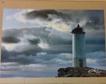 "Photo: Lighthouse, A Coruña, España (18"" x 12"" print) (front signature)"