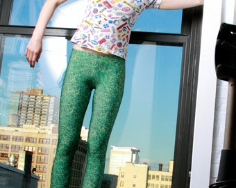 Green Grass Photo Printed Leggings