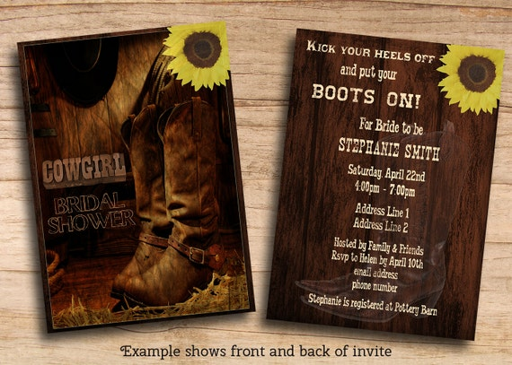 Items Similar To Printable Rustic Country Western Cowgirl Bridal Shower Invites Or ANY Event DIY