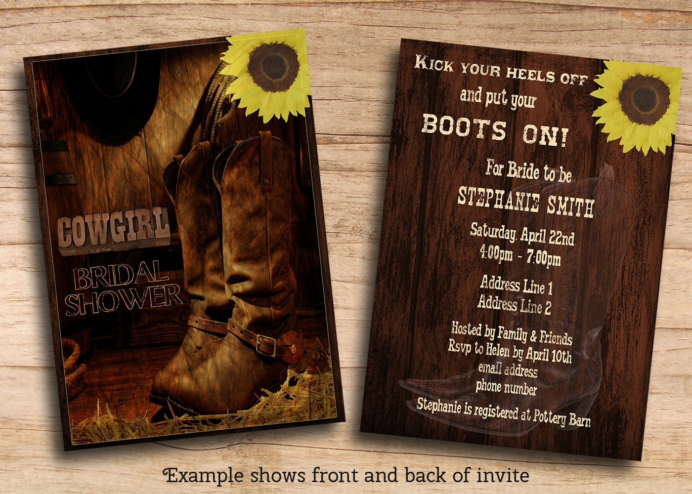 Western Wedding Invitation Wording: Printable Rustic Country Western Cowgirl Bridal Shower Invites
