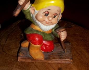 Vintage Dwarf, Vintage Elf, Ceramic Russ Berrie #334 Dwarf Elf Gnome Builder Figurine