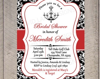 Bridal Shower Printable Invitation - Chandelier, Black White and Red, Wedding Shower Invitation, Black and White Damask - 015