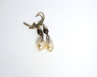Pearl earrings with antiqued gold filigree, pink Swarovski crystals, and glass ivory pearl earrings gold tone  lever back Victorian earrings
