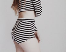 Black and White Stripe Set High Waist Brief and Long Sleeve Crop