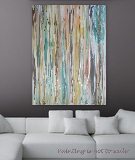 "Large Pastel Abstract painting by Marcy Chapman 40"" x 30""  wall art home decore Turquoise, metalic silver, white pink, peach, blue, brown"