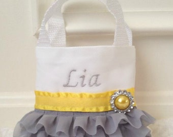 Gray and Yellow Chiffon Flower Girl  Purse, Flower Girl Gift, Birthday Gift