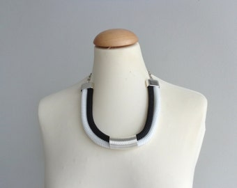 Tribal black white statement necklace, tube necklace