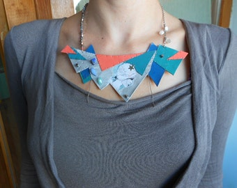 Necklace with ArtPrint+Leather+Stone+CzechGlass+Silver! ~Ghost Captures~ OOAK Neoteric Bib-Necklace in SalmonPink+Teals+Silver !
